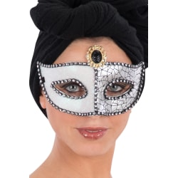 Ansiktsmask - Mask in silver glitter and black gem multifärg