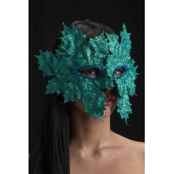Ansiktsmask - Mask with glitter aquamarine leaves multifärg