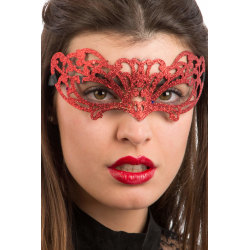 Ansiktsmask - Red glitter mask MultiColor