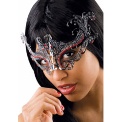 Ansiktsmask -Silver metal mask with red strass multifärg
