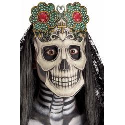 Ansiktsmask - Skull mask with flowers multifärg