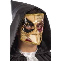 Ansiktsmask - White, gold, black and red Venetian bautta mask