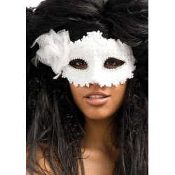 Ansiktsmask - White mask with lace and strass MultiColor