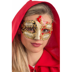 Ansiktsmask - White, red and black Venetian mask with gold decor multifärg