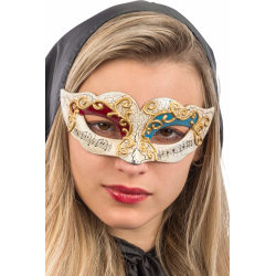 Ansiktsmask - White, red and blue Venetian mask with gold decora