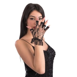 Black lace gloves without fingers 24 cm multifärg