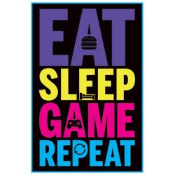Eat, Sleep, Game, Repeat (Gaming) multifärg