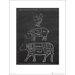 Exklusivt Art Print - Black board Butchers Cut Chalk - Text multifärg