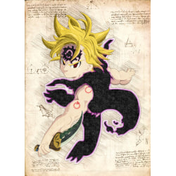 Pergament - 7 Deadly Sins - Meliodas Hyrda Mode multifärg