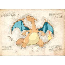 Pergament - Pokemon - Charizard multifärg