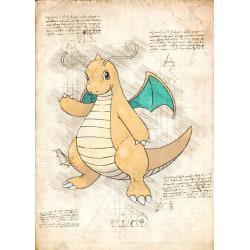 Pergament - Pokemon - Dragonite multifärg