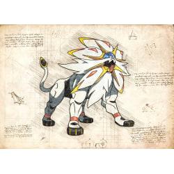 Pergament - Pokemon - Solgaleo multifärg