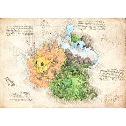 Pergament - Pokemon - Trio Starter multifärg