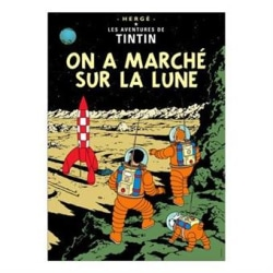 Poster -Tintin On a marché sur la lune -Månen tur och retur del2 multifärg
