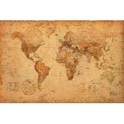 Poster Världskarta - Antik stil multifärg