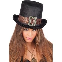 Steampunk Black Velvet Top-Hat Adult Size H.Cm.14 multifärg