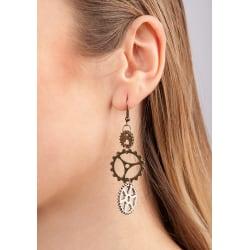 Steampunk Earrings With Gearwheel  multifärg