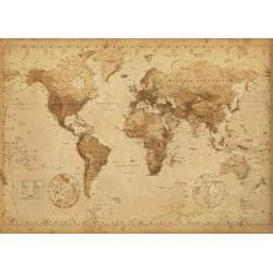 Världskarta Antik stil - World Map - Mycket snygg retro MultiColor