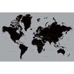 Världskarta - Svart och silver, World Map multifärg