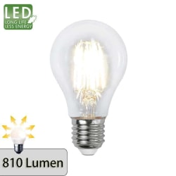 Illumination LED Klar filament lampa E27 2700K 810lm