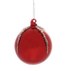 Julgranskula Röd med strass och pärlor 4-pack