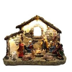 Julkrubba julby med belysning och musik