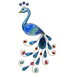 Solcellsdekoration påfågel 52cm Blå