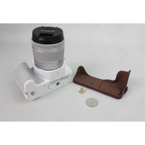 Canon EOS 200D kameraskydd underdelen äkta läder - Kaffe