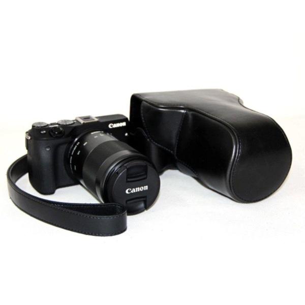 Canon EOS M3 Läcker läder fodrals väska - Svart
