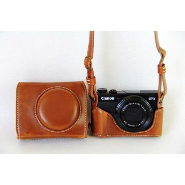 Canon PowerShot G7X MarkII skyddande fodral i läder - Brun
