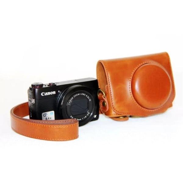 Canon PowerShot G7X MarkII Unikt läder kamera skydd - Ljus b