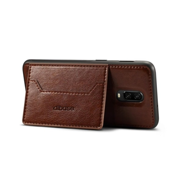 Crazy Horse OnePlus 6T leather hybrid case - Coffee