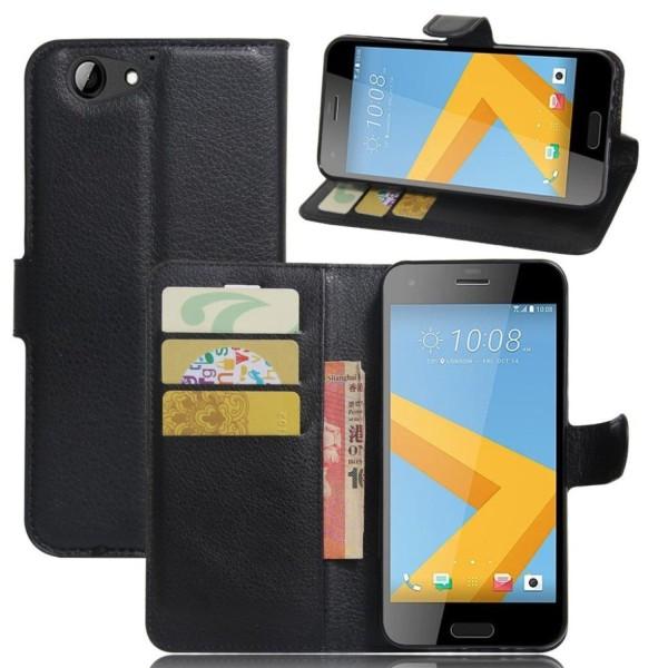 HTC A9s läderfodral med litchi textur - Svart