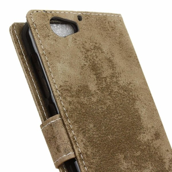 HTC A9s läderfodral med vintage textur - Khaki