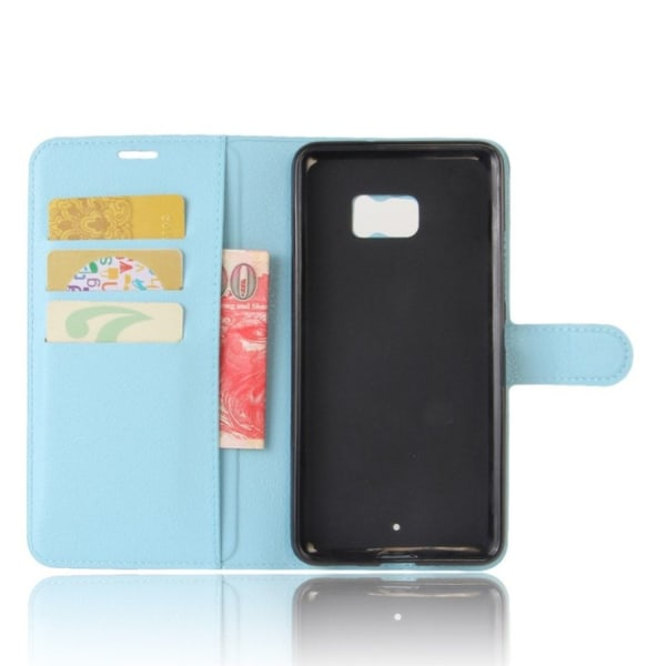 HTC U Ultra litchi fiber läderfodral - Blå