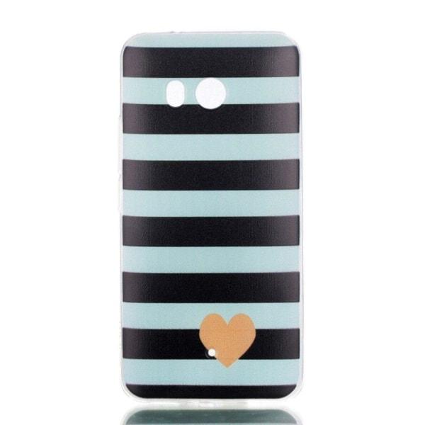 HTC U11 Skal med ett exotiskt motiv - Stripes och hjärtan