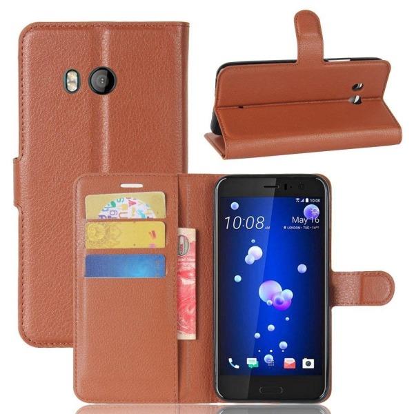 HTC U11 Skinn fodral med plånbok - Brun
