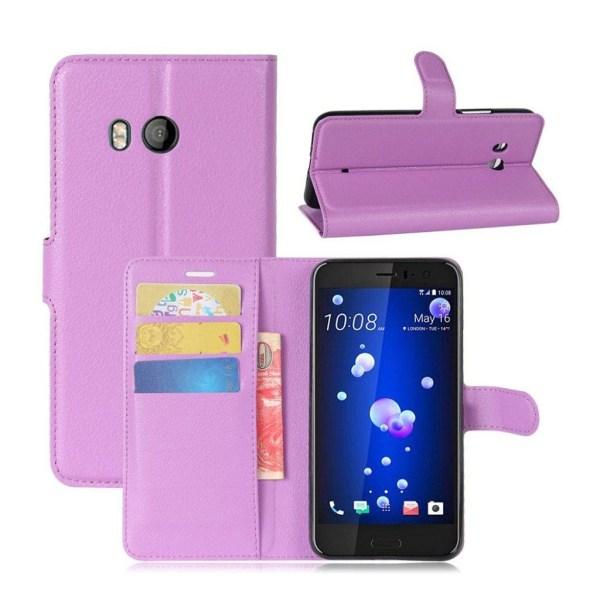 HTC U11 Skinn fodral med plånbok - Lila