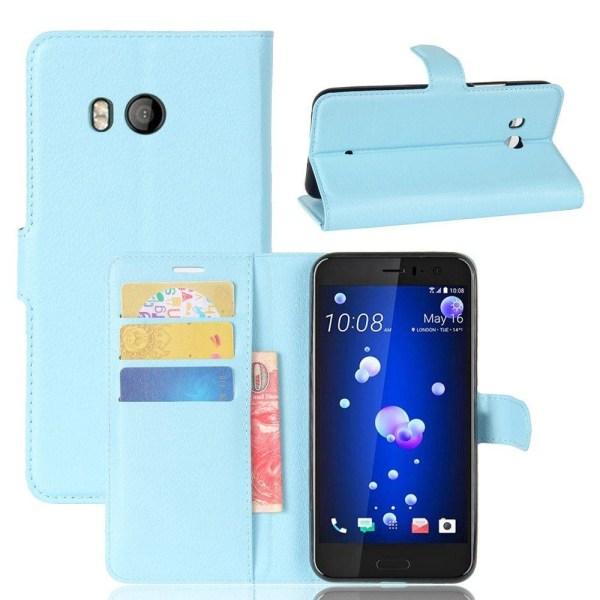 HTC U11 Skinn fodral med plånbok - Ljus blå
