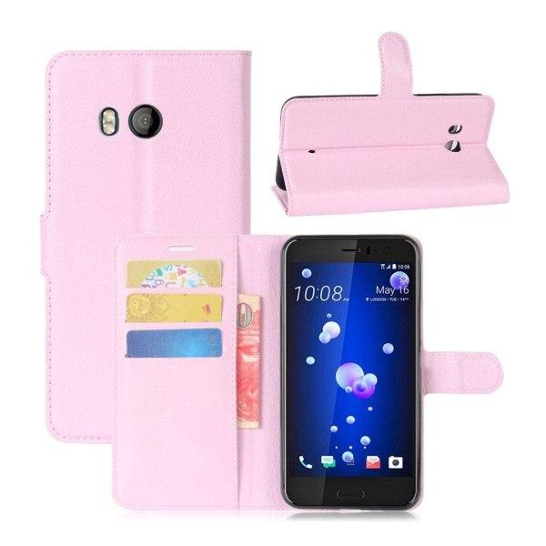 HTC U11 Skinn fodral med plånbok - Ljus rosa