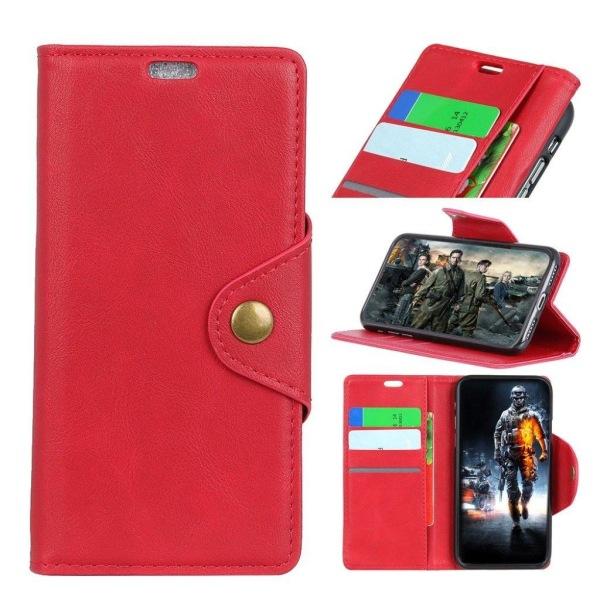 HTC U12+ mobilfodral konstläder silikon stående plånbok - Rö