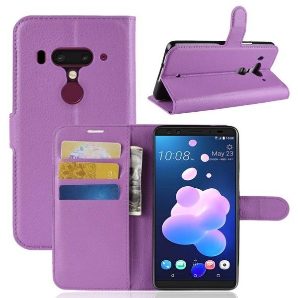 HTC U12+ mobilfodral silikon konstläder stående plånbok litc