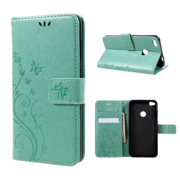 Huawei Honor 8 Lite fjäril läderfodral - Cyan