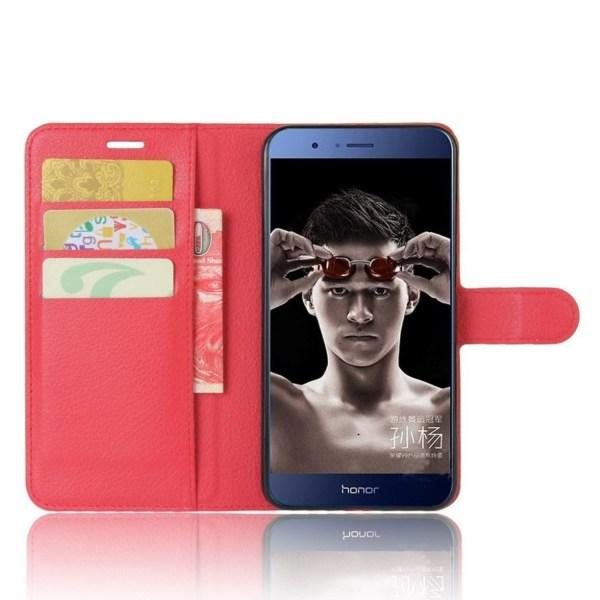 Huawei Honor 8 Pro litchi textur läderfodral - Röd
