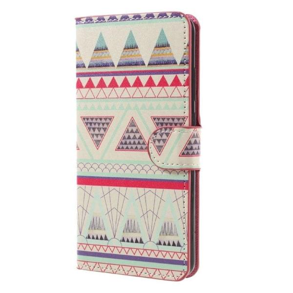 Huawei Mate 9 läderfodral med ett motiv - Tribal trianglar