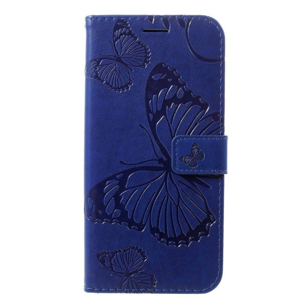 Huawei P30 Lite imprint butterfly leather case - Blue