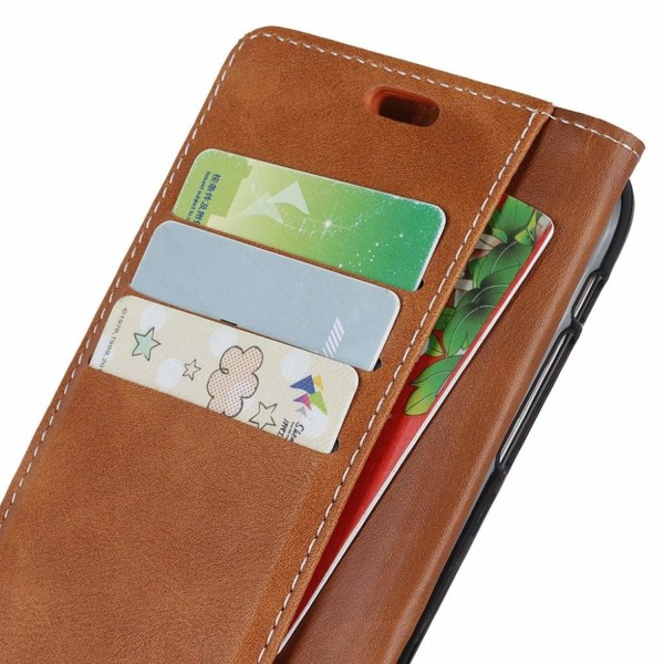 Huawei P30 Pro S-shape textured leather flip case - Brown