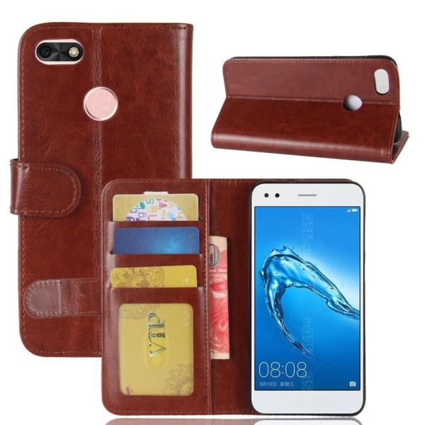 Huawei P9 Lite Mini Enfärgat fodral med plånbok - Brun
