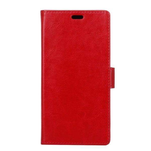 Huawei P9 Lite Mini Enfärgat skinn fodral - Röd