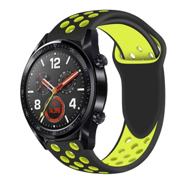 Huawei Watch GT soft silicone watch strap - Black / Yellow